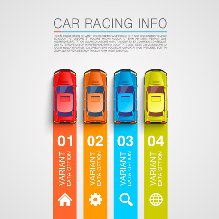 Car racing info art cover. Vector Illustration Vettoriali
