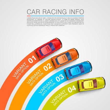 Car racing info art cover. Vector Illustration Vectores
