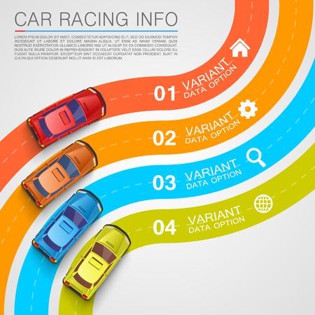 Las carreras de coches cubierta info arte. Ilustración vectorial