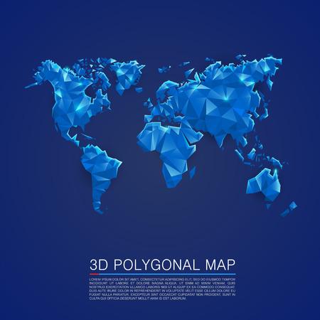 Kaart 3D-polygoon kunst omslag. Vector illustratie Stock Illustratie