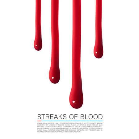 blood flow: Drops of blood running down. Vector Illustration Illustration