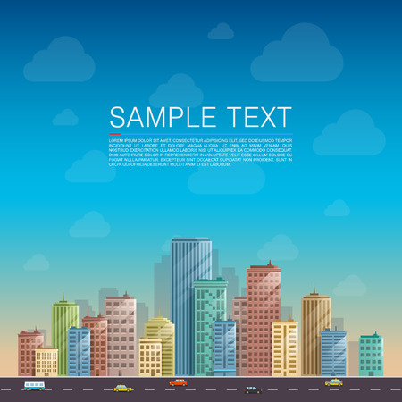 city background: Modern city landscape background. Beautiful vector background