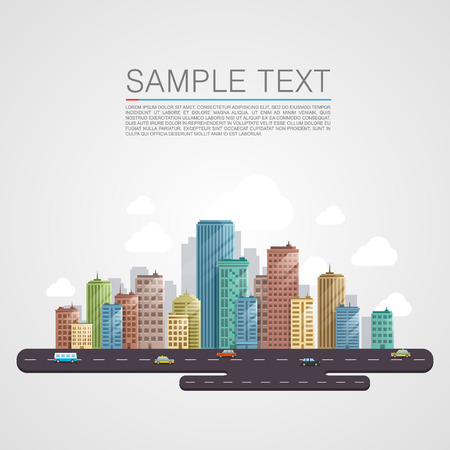 scapes: Modern city landscape background. Beautiful vector background