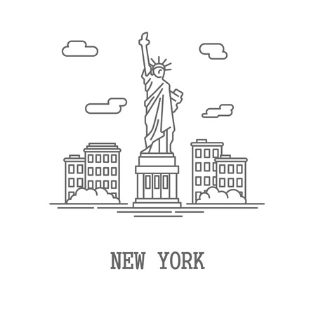 manhattan skyline: Drawing silhouette New York City. Vector illustration