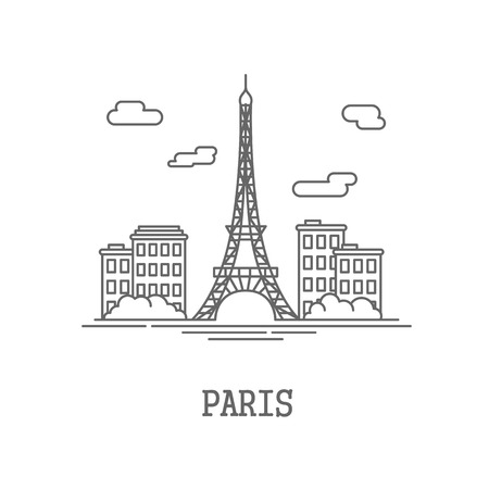 sky line: Drawing silhouette the city of Paris. Vector illustration Illustration