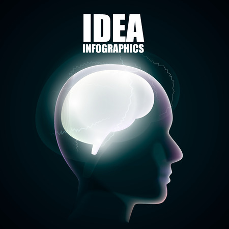 tomography: Head silhouette with brain art. Vector illustration Illustration