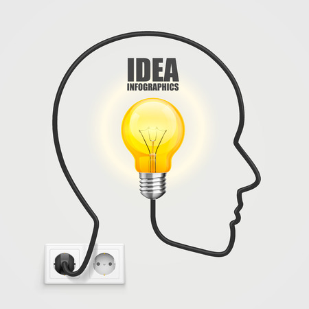 enchufe de luz: Cabeza con una bombilla del z�calo. Ilustraci�n vectorial