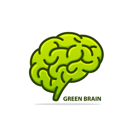 Silhouette of the brain green on a white background. Vector illustration Illustration