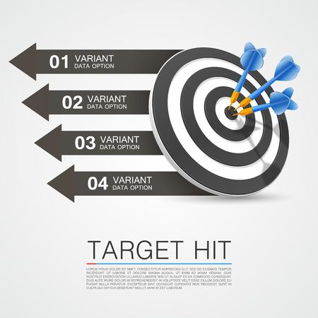 Grafische informatie doel met darts. Vector illustratie