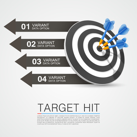 dart on target: Graphic information target with darts. Vector illustration