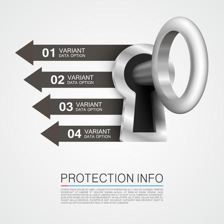 gold keyhole: Protection info art key banner. Vector illustration