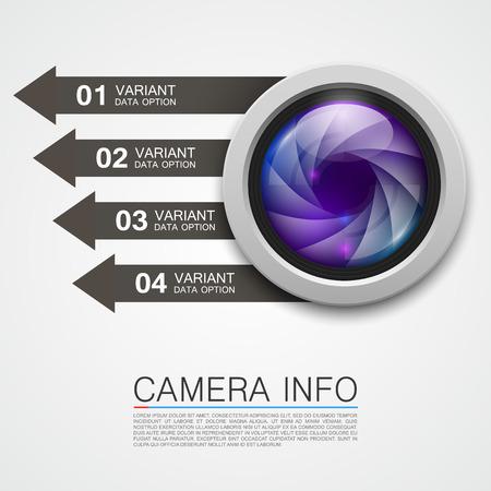 camera lens: Camera info banner art creative. Vector illustration Illustration