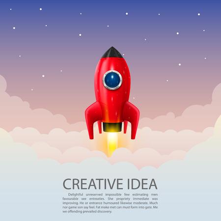 caricatura mosca: Cohete de espacio lanzamiento arte creativo. Ilustración vectorial