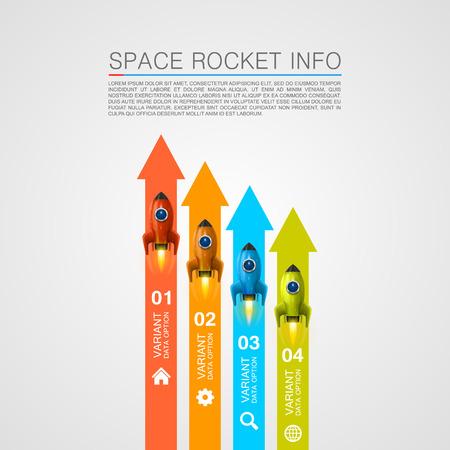 journey: Rocket racing info art cover. Vector Illustration Illustration
