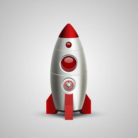 mosca caricatura: Cohete de espacio signo arte lanzamiento. Ilustración vectorial