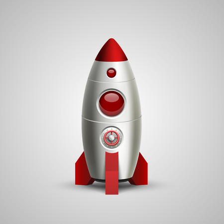 rocket ship: Space rocket launch art sign. Vector illustration
