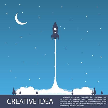 Ruimte raketlancering zijt creatief. Vector illustratie Stock Illustratie