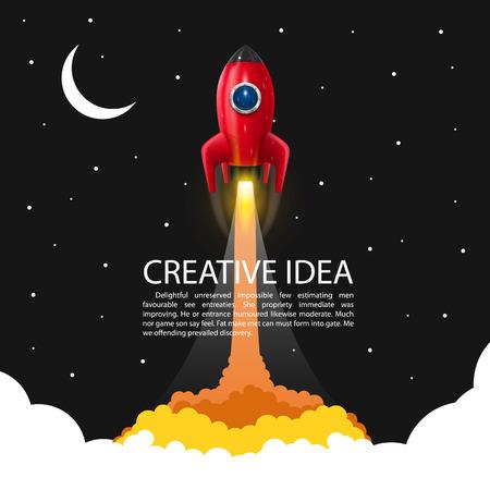 mosca caricatura: Cohete de espacio lanzamiento arte creativo. Ilustración vectorial