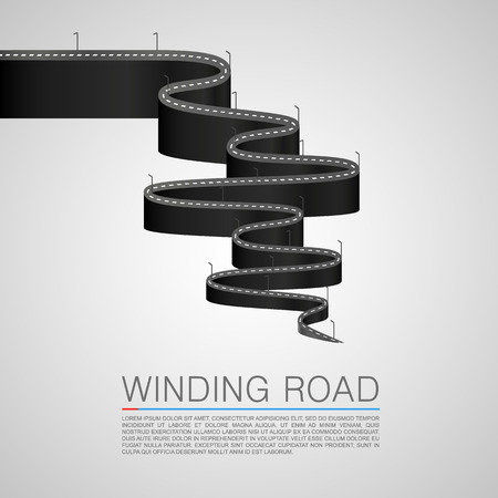 road marking: Winding road to the top. Vector Illustration Illustration