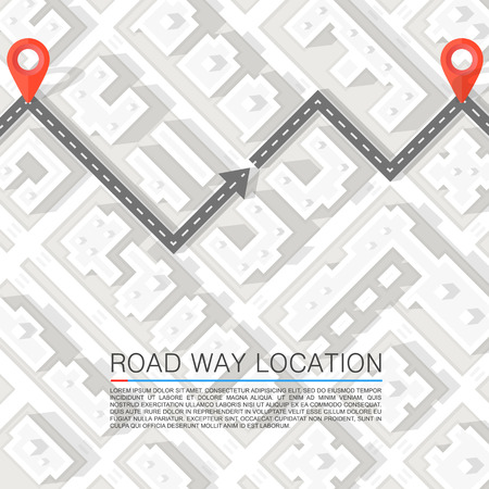 illustration journey: Paved path on the road. Vector background