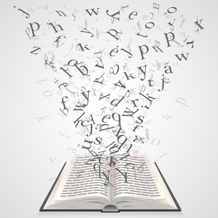 napsat: Kniha s písmeny létající uměním. Vektorové ilustrace Ilustrace