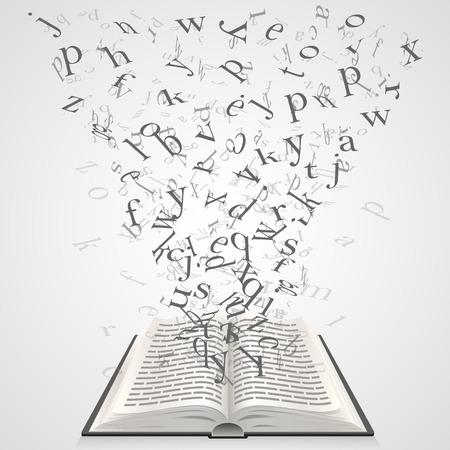 Libro con lettere volanti arte. Vector Illustration