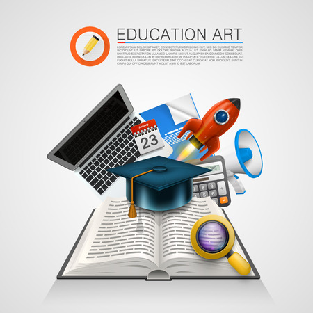 open book: Open book with a set of objects art sign. Vector Illustration