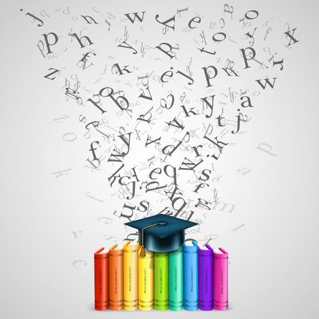 10eps: Books color with flying letters. Vector Illustration Illustration