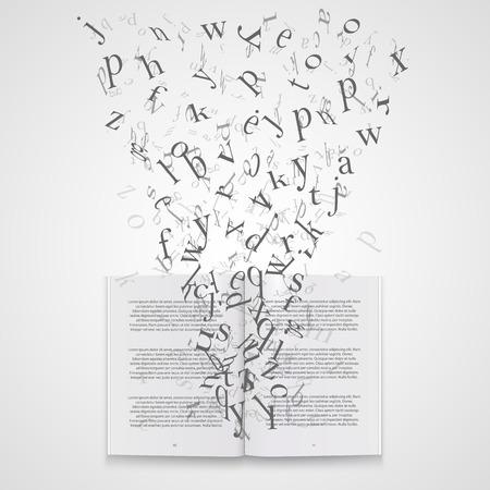 Book with flying letters art. Vector Illustration Ilustração