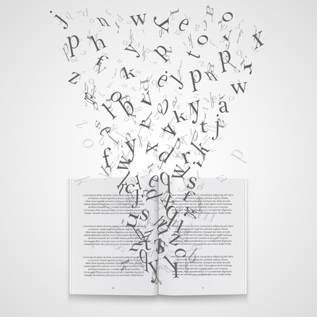 Book with flying letters art. Vector Illustration Vettoriali