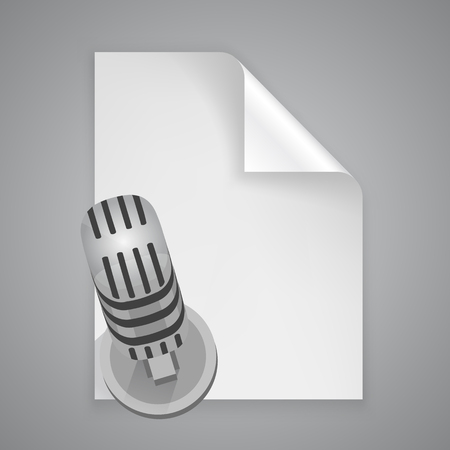 stack of papers: Paper symbol microphone art icon. Vector illustration