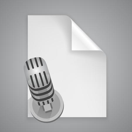 a4 borders: Paper symbol microphone art icon. Vector illustration