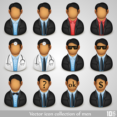 userpic: Icon collection of men art. Vector illustration