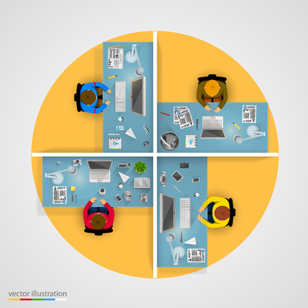 discussion: Group of business people working in office. Vector illustration