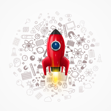 rocket: Rocket with icons on the background. Vector illustration