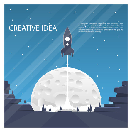 cover art: Space rocket launch cover art. Vector illustration