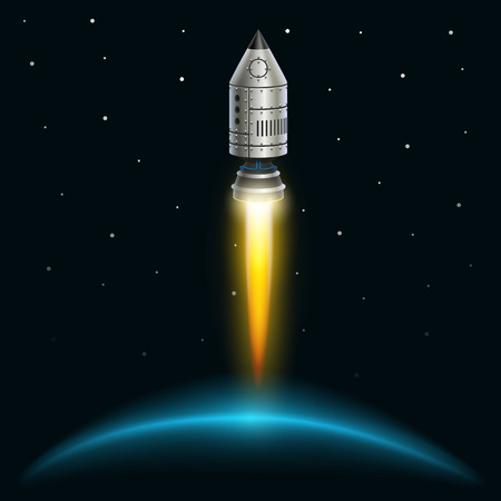 Space rocket launch creative art. Vector illustration Ilustração