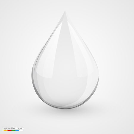drop of water: 3D water drop on white isolated. Vector illustration