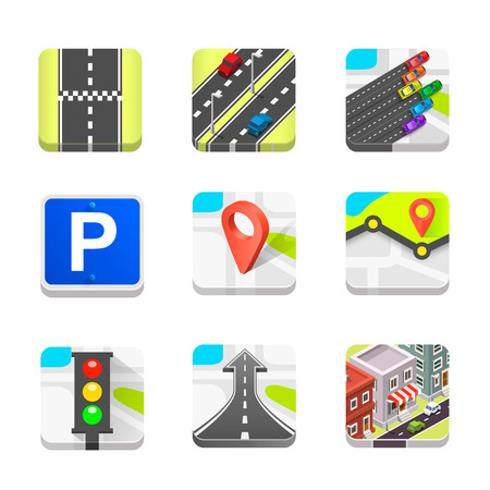 hause: Collection of road icons set art. Vector illustration