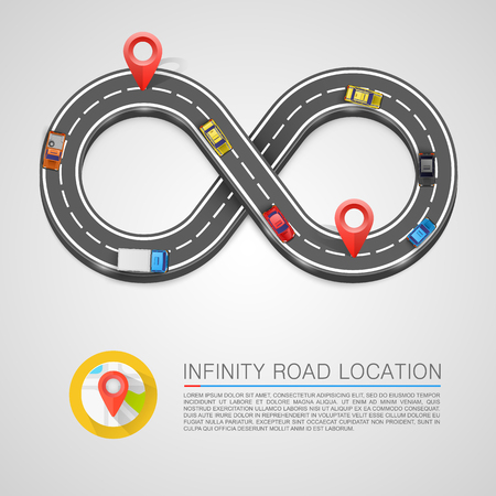 curb: Infinity Road location sign art. Vector illustration
