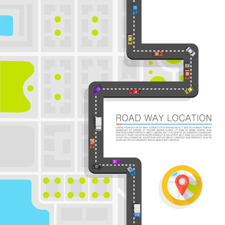 location: Paved path on the road art. Vector background Illustration