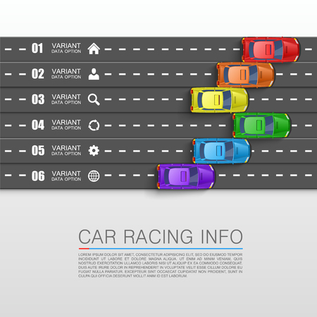 car race: Car racing info art cover. Vector Illustration Illustration