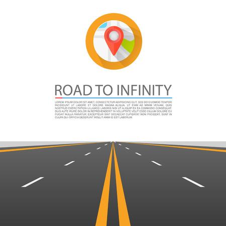 carretera: Camino a la portada infinito. Ilustración vectorial Vectores
