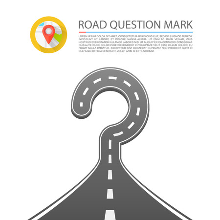doubt: Road question mark sign art. Vector illustration