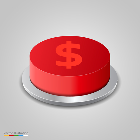3d button: Realistic money button on white background. Vector illustration