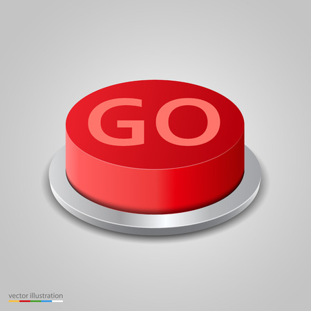 go button: Realistic red go button on white background. Vector illustration Illustration