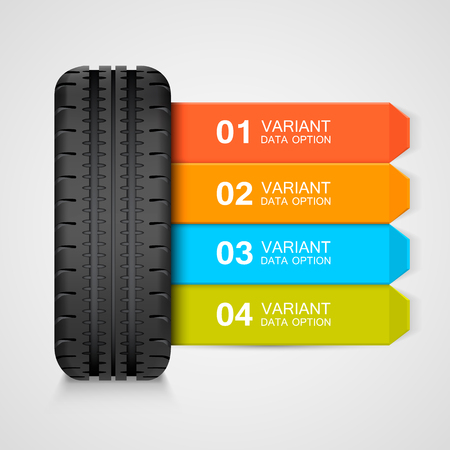 drive: Black rubber tire colorful infographics. Vector illustration