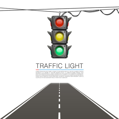 Traffic signal on a white background. Vector Illustration Ilustração