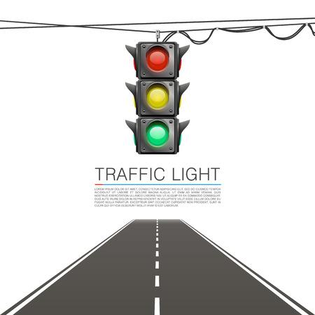 Verkeer signaal op een witte achtergrond. vector Illustration