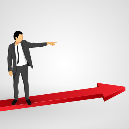 business leader: Businessman points to the growing chart. Vector illustration